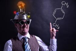 Nerd presenting handdrawn chemical formula of formic Xylene molecule
