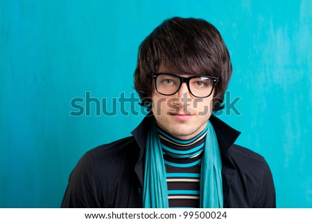 Nerd retro british indie look with handkerchief and vintage glasses