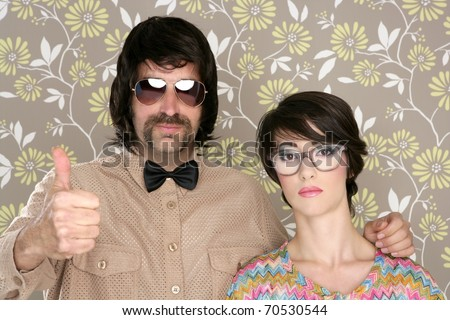 nerd silly couple tacky retro 60s man woman ok hand sign floral wallpaper