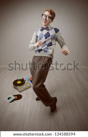 Nerd student enjoys dancing alone