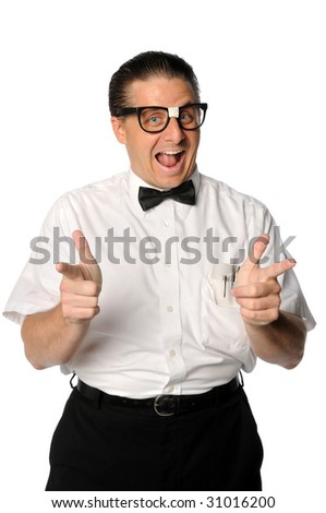 Nerd with fingers pointing isolated over white background - stock photo