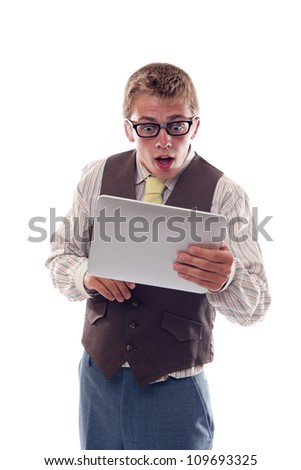 Nerd with tablet