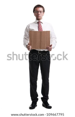Nerdy manager showing blank cardboard