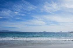 Nerga beach and Cies Islands in the background, Pontevedra, Spain