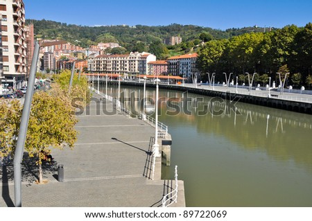 Nervion river at Bilbao (Spain) - stock photo