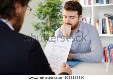 Nervous man during a job interview