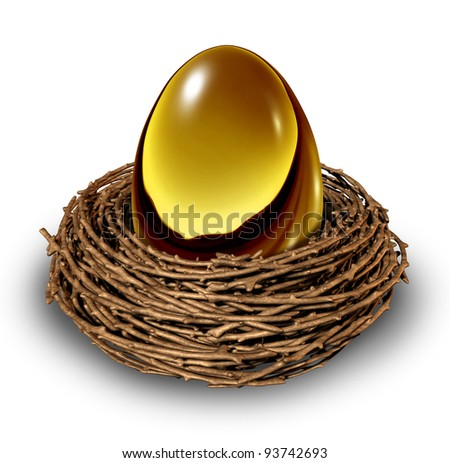 Nest Egg in a bird nest as a gold retirement savings fund investment as a financial business idea of finance management for conservative blue chip wealth building and secure future money strategy. - stock photo