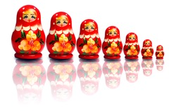 Nested dolls on a white background
