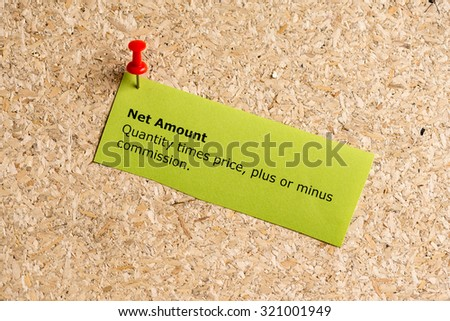 net amount word typed on a paper and pinned to a cork notice board