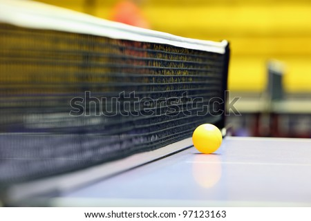Net and ball for a table tennis - stock photo