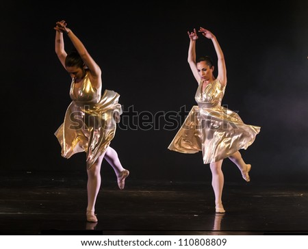 NETANIA, ISRAEL -JULY 12: Final concert of the School of Ballet on July 12, 2012 in Netania, Israel. Concert at the performing arts center of Netania.