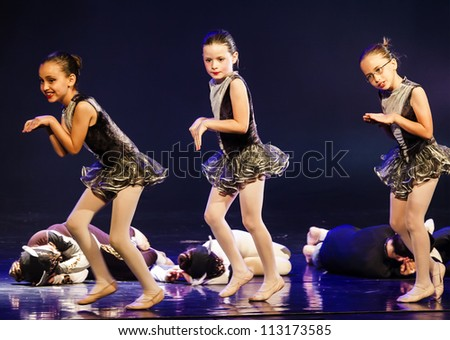 NETANIA, ISRAEL - JULY 12: Unidentified students perform in the final concert of the School of Ballet on July 12, 2012 in Netania, Israel. Concert at the performing arts center of Netania.