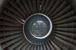 Netherlands, Amsterdam, Schiphol, FULL FRAME SHOT OF AIRPLANE Engine