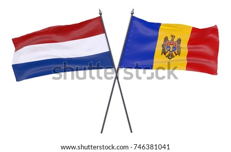 Netherlands and Moldova, two crossed flags isolated on white background. 3d image