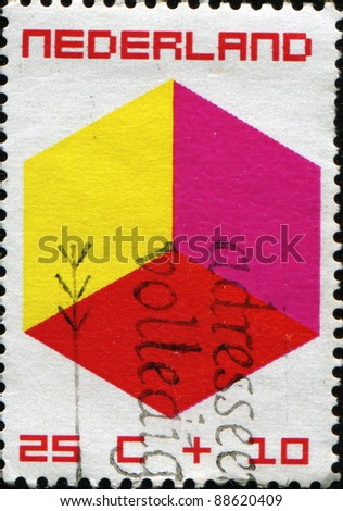 NETHERLANDS - CIRCA 1970: A stamp printed in Netherlands honoring Child Welfare shows cube, circa 1970