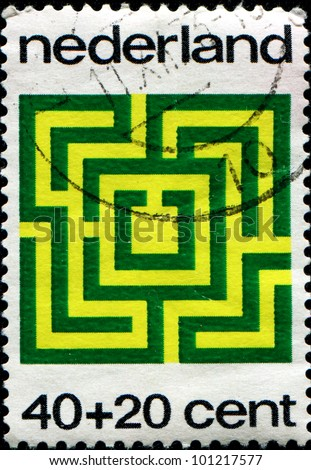 NETHERLANDS - CIRCA 1973: A stamp printed in Netherlands honoring Child Welfare, shows Maze, circa 1973