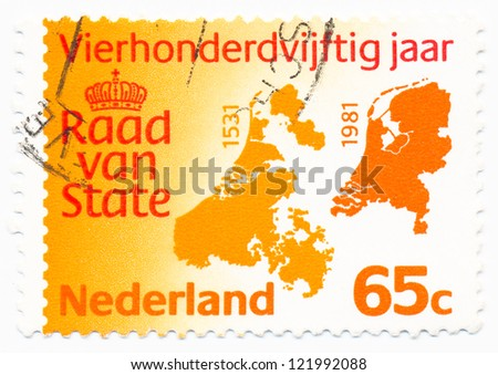 NETHERLANDS - CIRCA 1981: A stamp printed in Netherlands shows map Netherlands 1531 and 1981, circa 1981 - stock photo