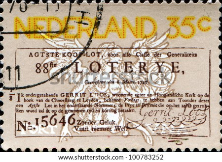NETHERLANDS - CIRCA 1976: a stamp printed in the Netherlands honoring Jubilee of National Lottery, circa 1976