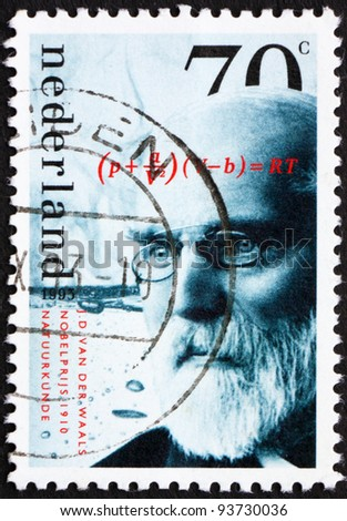 NETHERLANDS - CIRCA 1993: a stamp printed in the Netherlands shows J. D. van der Waals, Winner of Nobel Prize 1910 for Physics, circa 1993
