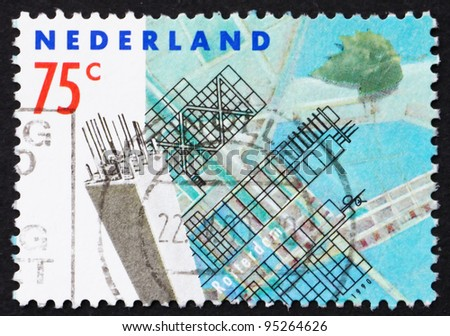 NETHERLANDS - CIRCA 1990: a stamp printed in the Netherlands shows Modern Buildings, Rotterdam Reconstruction after devastating bombardment in WWII, circa 1990