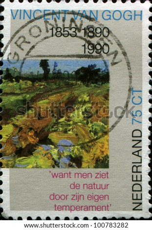 NETHERLANDS - CIRCA 1990: a stamp printed in the Netherlands shows paint by Vincent van Gogh - Green Vineyard (detail) , circa 1990
