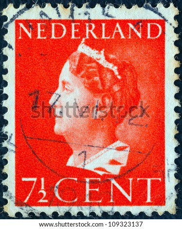 NETHERLANDS - CIRCA 1940: A stamp printed in the Netherlands shows Queen Wilhelmina, circa 1940.
