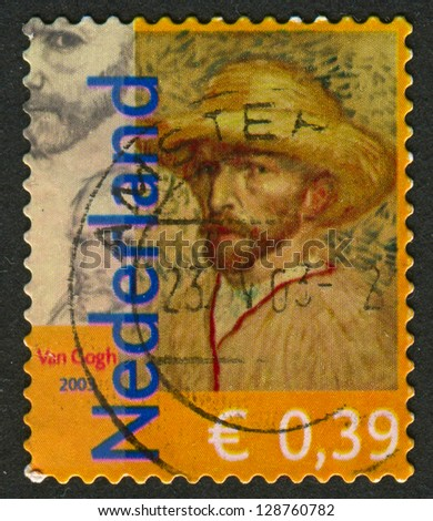 NETHERLANDS - CIRCA 2003: Postage stamp printed in Netherlands dedicated to Vincent van Gogh (1853-1890), Dutch painter, circa 2003.