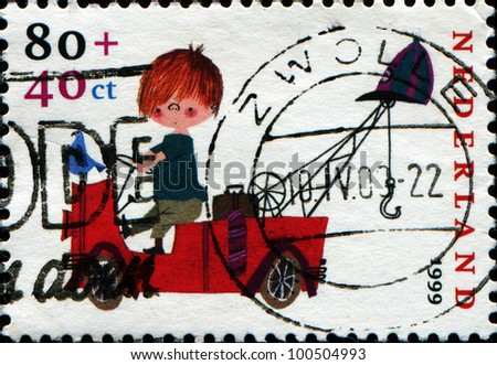 NETHERLANDS - CIRCA 1999: Stamp printed in Netherlands shows Characters created by Fiep Westendorp, Pluk van de Pettevlet on Fire Engine, circa 1999