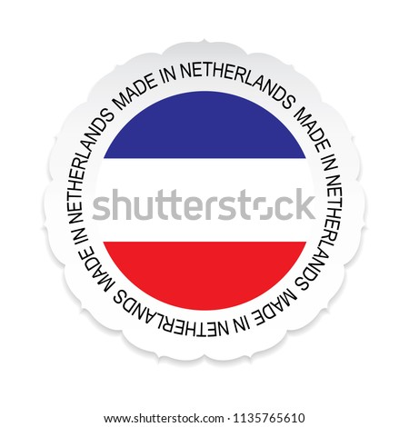 Netherlands Flag.Netherlands national official colors, Made in Netherlands on a white background
