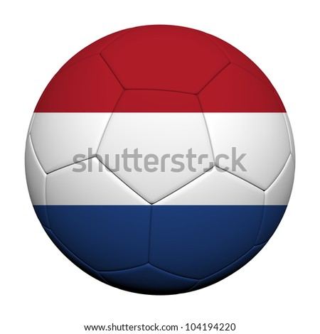Netherlands Flag Pattern 3d rendering of a soccer ball