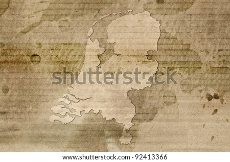 Netherlands map antique style