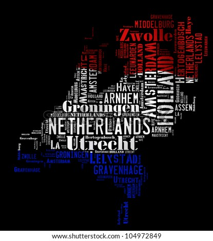 NETHERLANDS map words cloud of major cities with a black background