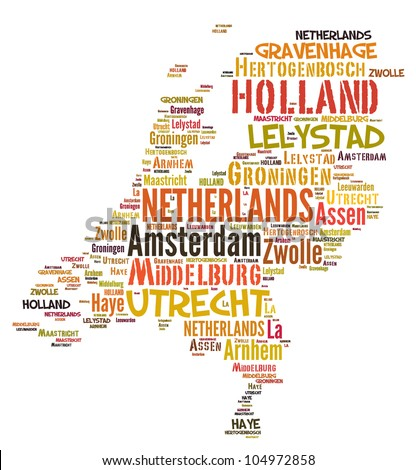 NETHERLANDS map words cloud of major cities with a white background