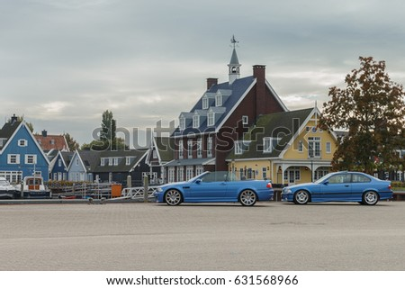 Netherlands 30 October 2016, BMW M cars at a small harbor in the town Huizen.