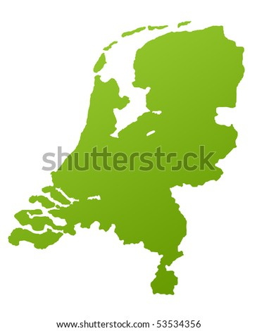 Netherlands or Holland map in green, isolated on white background.