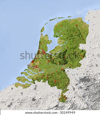 Netherlands. Shaded relief map. Surrounding territory greyed out. Colored according to vegetation. Includes clip path for the state area.