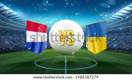 Netherlands vs Ukraine. Soccer concept. White soccer ball with the flag in the stadium, 2021. 3d render Foto stock ©