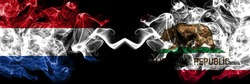 Netherlands vs United States of America, America, US, USA, American, California, Californian smoky mystic flags placed side by side. Thick colored silky abstract smoke flags.