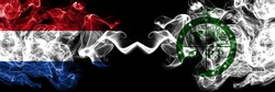 Netherlands vs United States of America, America, US, USA, American, Pee Pee Township, Ohio smoky mystic flags placed side by side. Thick colored silky abstract smoke flags.