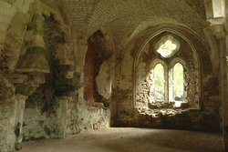 Netley Abbey ruins in Southampton, Hampshire, England, Europe. Ruins of 13th century abbey and church.
