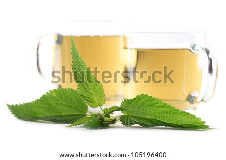 Nettle and freshly made nettle tea in glass cups isolated on white background. Shallow dof, focus on nettle