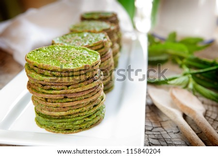 Nettle or spinach pancakes