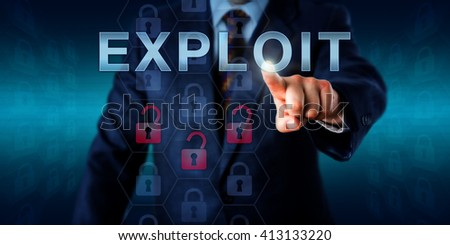 Network administrator touching EXPLOIT on an interactive screen. Business metaphor and information technology concept for software or commands taking advantage of program flaws and security holes. Foto stock ©