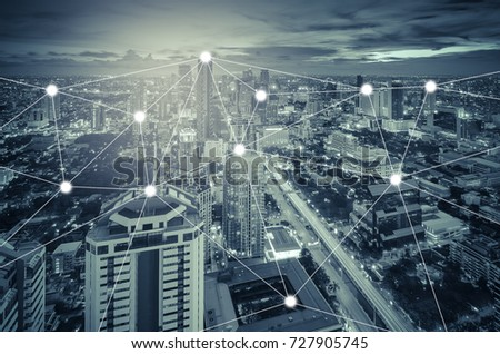 network and connection concept with cityscape as background, business concept, vintage style process #727905745