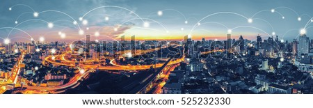 Network and Connection technology concept with Bangkok Expressway top view in panorama at sunrise, Thailand. #525232330