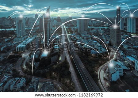 Network and Connection technology concept with city background in sunrise at Bangkok, Thailand #1182169972