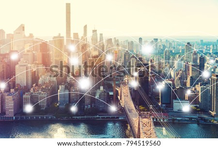 Network and connection technology concept with the New York City skyline near Midtown #794519560