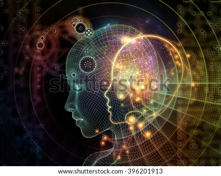 Network Avatar series. Composition of human heads, lights and grids on the subject of science, artificial intelligence and technology