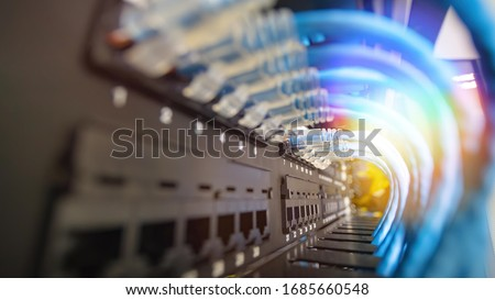 Network cable system in network rack Foto stock ©