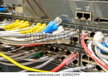 Network cables and servers in a technology data center